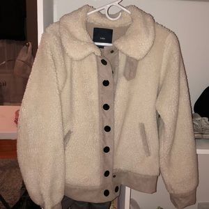 Zara Fleece/faux shearling bomber jacket